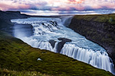 Gullfoss Falls at sunset